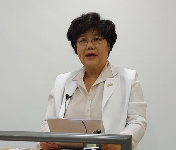 서울시약사회장 선거 출마를 선언한 양덕숙 전 약학정보원장.