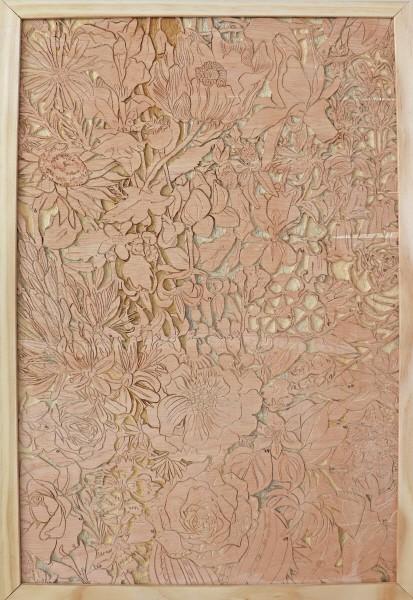 김정민 作, July-in-full-bloom, 63.3×42.9㎝, wood plywood, 2021
