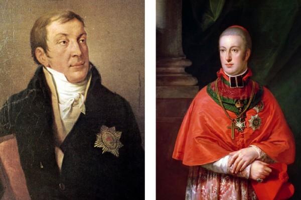 (좌: 리히노프스키 공작/Leinwand von Geodel 작품. 우: 루돌프 대공/Johann Baptist von Lampi 작품.)