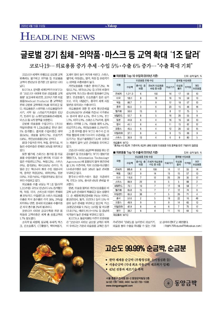 약업신문 5694호 2020년 4월 15일(수)