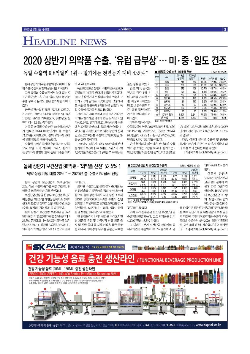 약업신문 5709호 2020년 8월 5일(수)