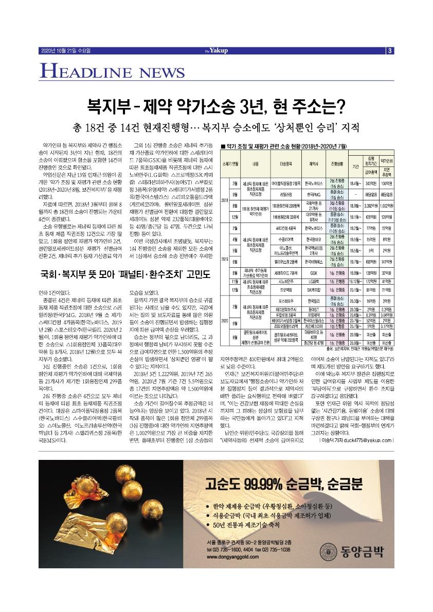 약업신문 5719호 2020년 10월 21일(수)