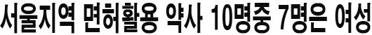 서울지역 면허활용 약사 10명중 7명은 여성