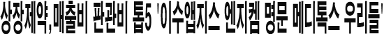 상장제약,매출비 판관비 톱5 '이수앱지스 엔지켐생명 명문 메디톡스 우리들'